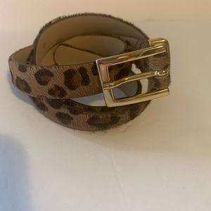 Talbots Leopard Animal Print Haircalf Belt